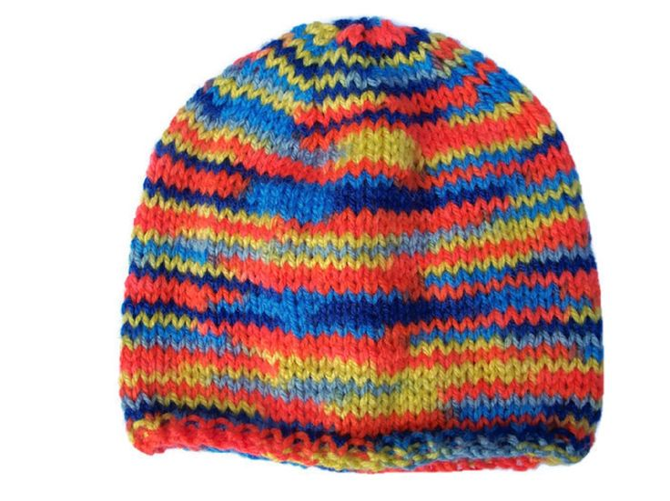 Self Striped Rainbow Beanie Hat, Hand Knit, All Sizes, £14.99
