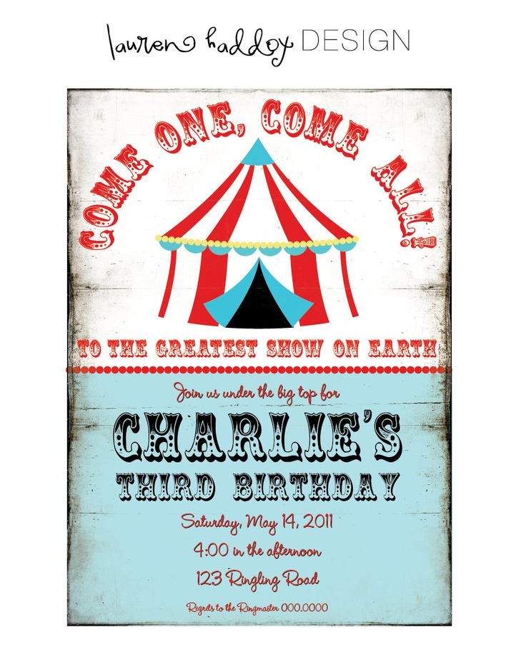 Vintage Circus Birthday Party INVITATION. $12.00, via Etsy.
