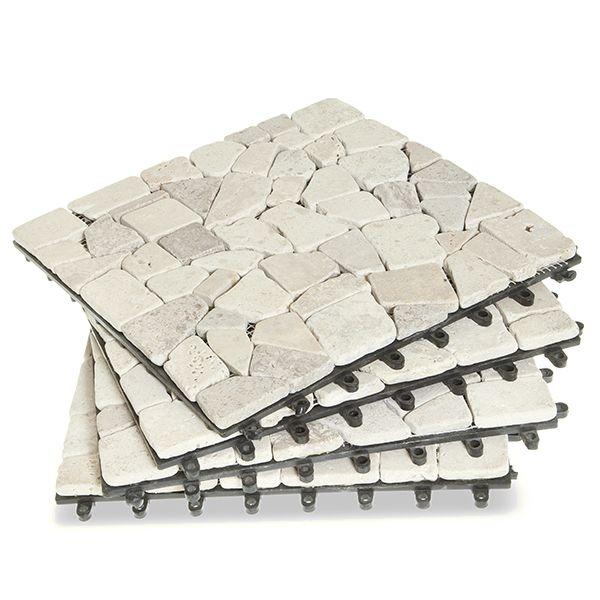 Gray Stone Deck Tiles - Box of 10 Garden Winds