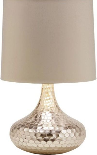 """Tortoise Table Lamp   The Tortoise Silver Bottle Neck Glass Table Lamp from Arteriors Home is a vision of classic modern style!   The hammered base topped with a neutral shade make this lighting accessory a """"must-have"""" for your beach house, sunroom, office, or living room.         Materials:  silver glass; putty shade with silver foil lining;150 max wattage; 3 way light    Size:  21.5"""" high x 14.5"""" diameter"""