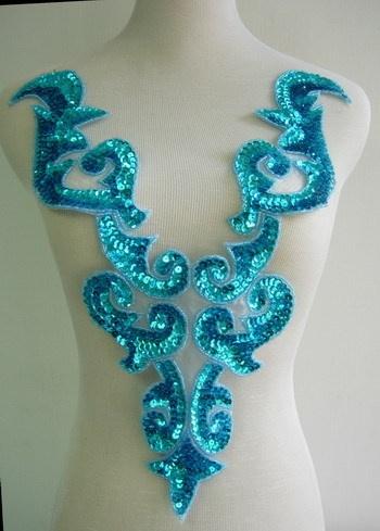 BD03 2 Huge Aqua Bodice Sequined Beaded Applique Tutu Belly Dance Dancewear   eBay