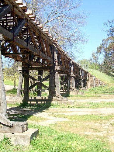 Wooden Rail Trestle Viaduct - Gundagai, Australia