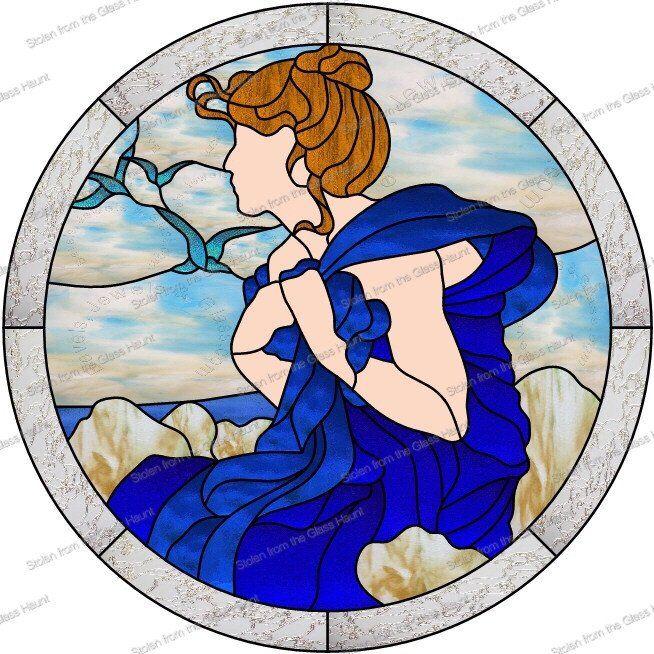 "Alphonse Mucha 9 September 24"" Stained Glass Pattern  Artist Ruth Green"