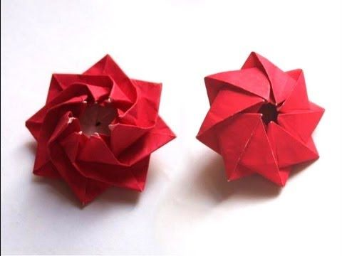 Origami Blütenkreisel by Carmen Sprung ALSO see youtube: christmas origami instructions:  snowflake (dennis walker)