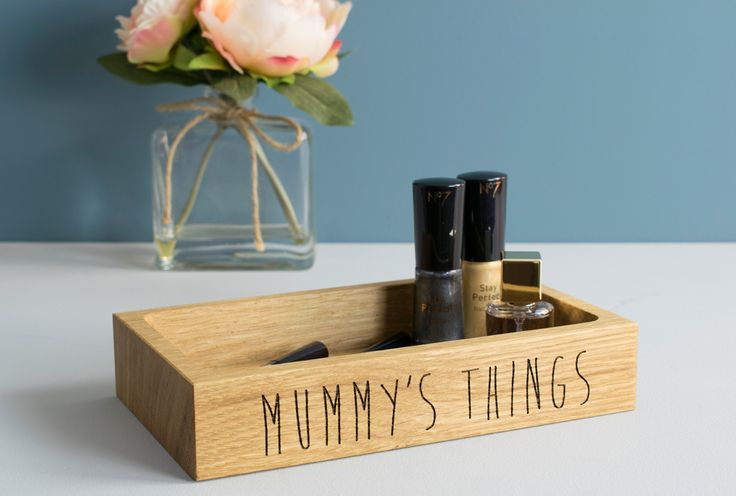 Personalised Oak Dressing Table Tray, Gift for Her, by Beam Designs UK. £30.00