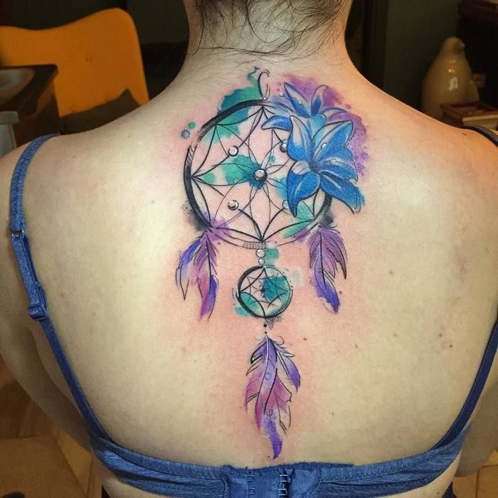 Watercolor Dreamcatcher Tattoo by Lello Sannino