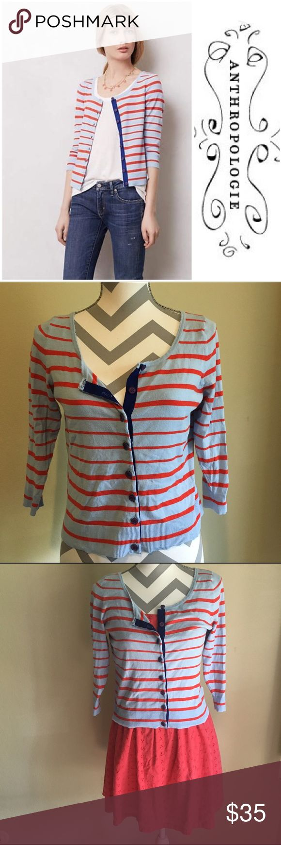 Anthropologie Cardigan Pretty nautical cardigan by Moth for Anthropologie. Light blue button up cardigan with red stripes, 3/4 sleeves, and cute bow design on the half open back. Anthropologie Sweaters Cardigans