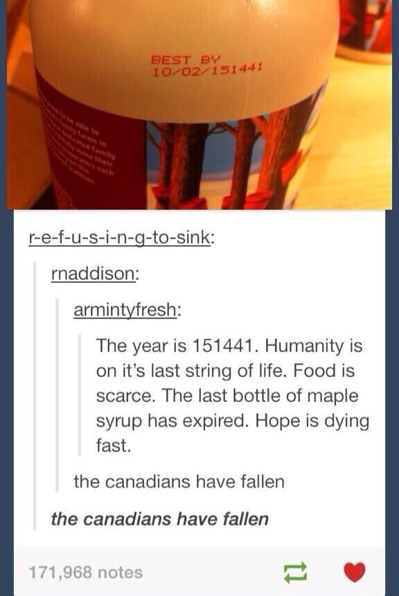 OH honey, maple syrup does not expire...but i understand the humour
