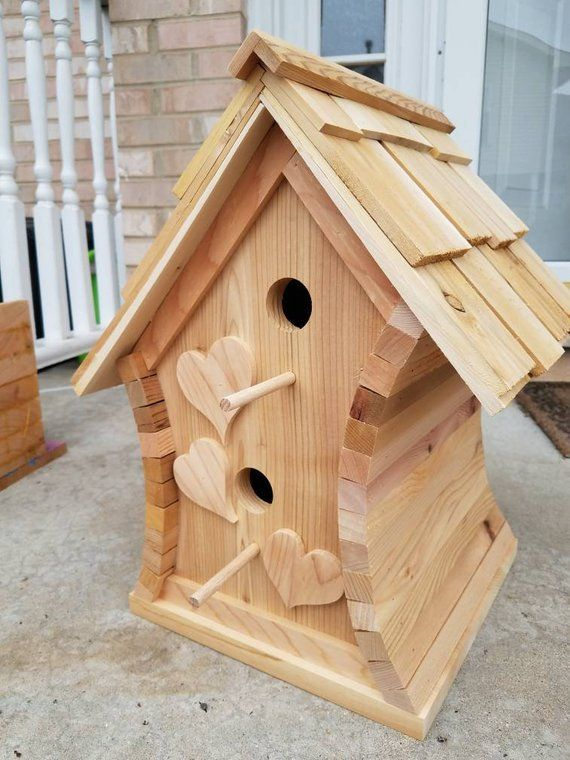 Cedar Rustic Wooden Handmade Log Birdhouse Bird Tables Bird