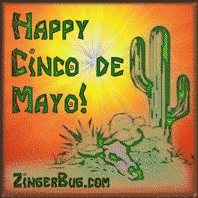 Cinco De Mayo Desert Scene Glitter Graphic, Greeting, Comment, Meme or GIF