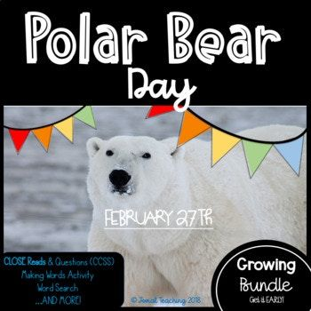*A Non-Fiction Close Read of POLAR BEARS,  *A Questions Set for the Non-Fiction Close Read Labeled with CCSS Standards,  *A Making Words Fun Page in which the students make words from the letters in NATIONAL POLAR BEAR DAY,  *A Draw Your Own CARTOON POLAR BEAR Page in which the students refer to a youtube Arts Channel to learn how to draw a CARTOON POLAR BEAR,   *A Draw Your Own REAL-LIFE POLAR BEAR  and MORE!