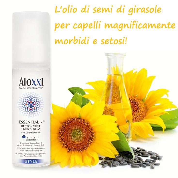 Essential7 di AloXXi, un siero condizionante formulato con una miscela di 7 oli botanici che agiscono sui capelli rendendoli lisci, setosi e luminosi. Con i suoi estratti naturali di olio di girasole li protegge dall'azione dei raggi UV impedendo lo sbiadimento del colore.