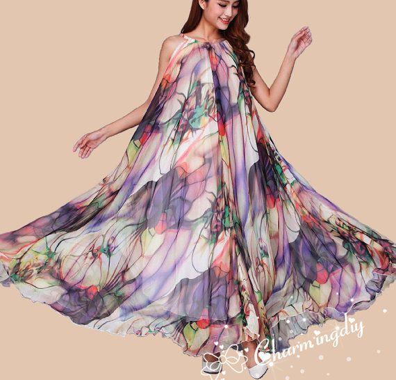 Chiffon Blumen lange Party Kleid Abend Hochzeit Mutterschaft Leichtes Sommerkleid Sommer Urlaub Strand Kleid Brautjungfer Maxi Rock