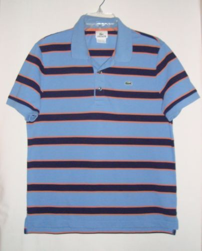 LACOSTE-Light-Blue-Striped-Short-Sleeve-Mens-Polo-Shirt-Size-6-Med