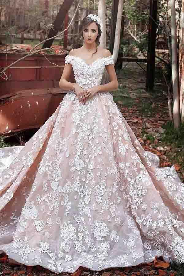 Luxurious Off Shoulder Watteau Train Formal Lace Dramatic Blush Wedding Dresses Wedding Dre Short Sleeve Wedding Dress Ball Gowns Wedding Wedding Dresses Blush