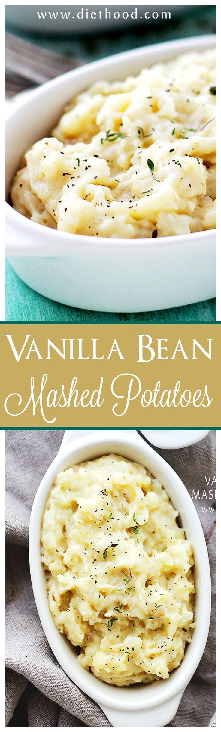 Vanilla Bean Mashed Potatoes – Creamy and delicious mashed potatoes with a fabulous twist! Vanilla adds an amazing flavor to this classic mashed potatoes recipe. Add it to your Thanksgiving menu!