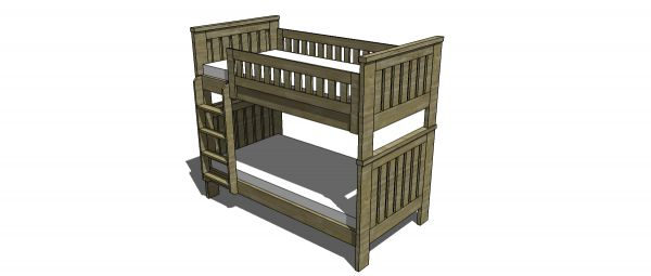 Free Woodworking Plans To Build An RH Inspired Kenwood Twin Over Twin Bunk