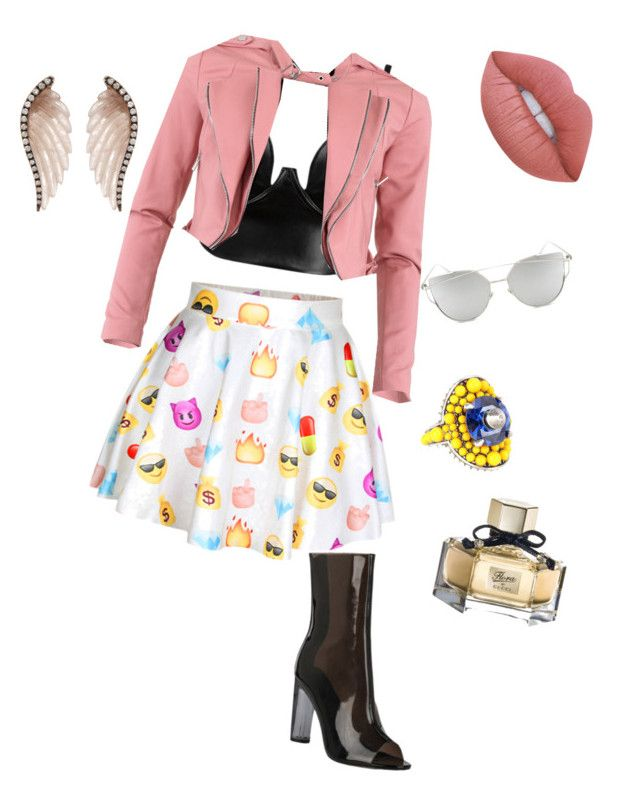 """Emotic"" by jangiraldo on Polyvore featuring moda, Posh Girl, FRACOMINA, Noor Fares, Lime Crime, Gucci y Chicnova Fashion"