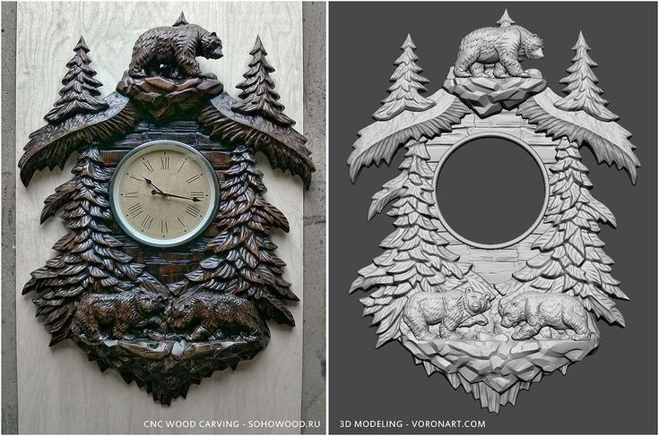 Wall clock d model for cnc wood carving to buy
