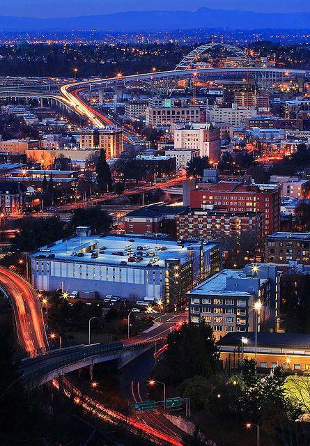 Portland, Oregon - Fremont Bridge night shot, looking northeast from west hills of Portland | Flickr - Photo Sharing!
