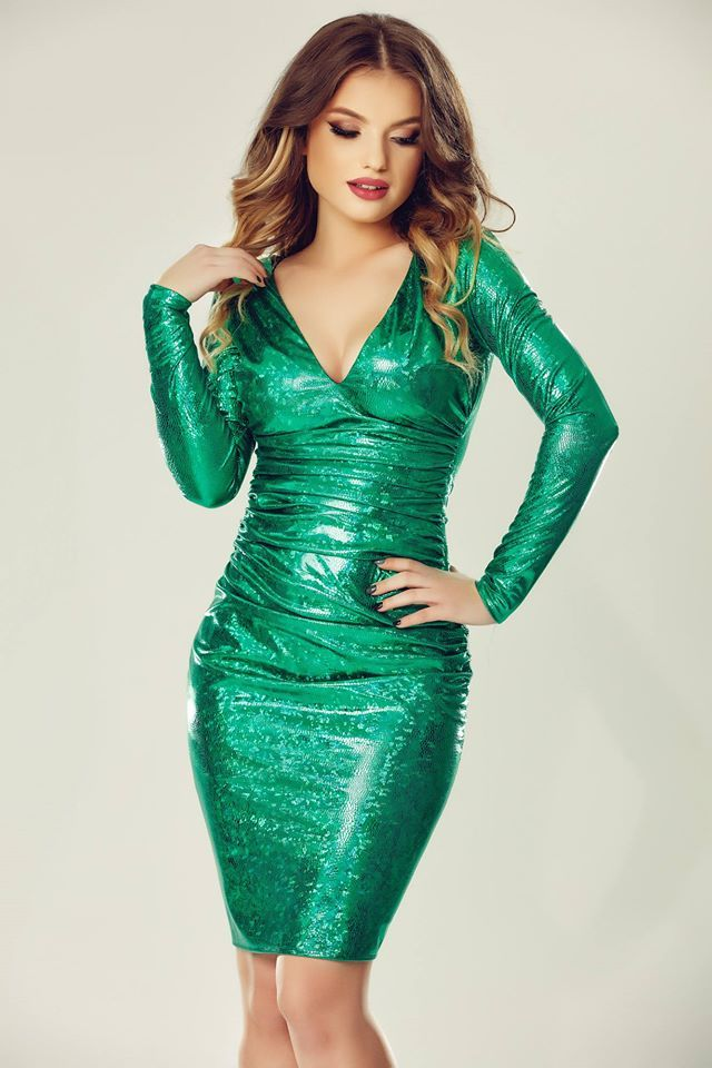 Awesome green party dress with shining texture Luna.