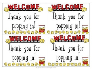 Thanks for Popping In - cards to put out with popcorn at