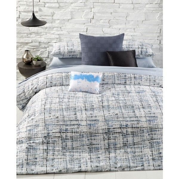 Calvin Klein City Plaid King Comforter Set ($400) ❤ liked on Polyvore featuring home, bed & bath, bedding, comforters, storm, plaid comforter set, king size comforters, king size comforter sets, king bedding and tartan bedding
