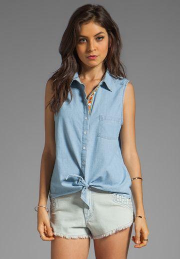 C CALIFORNIA Chambray Sleeveless Tie-Front Shirt