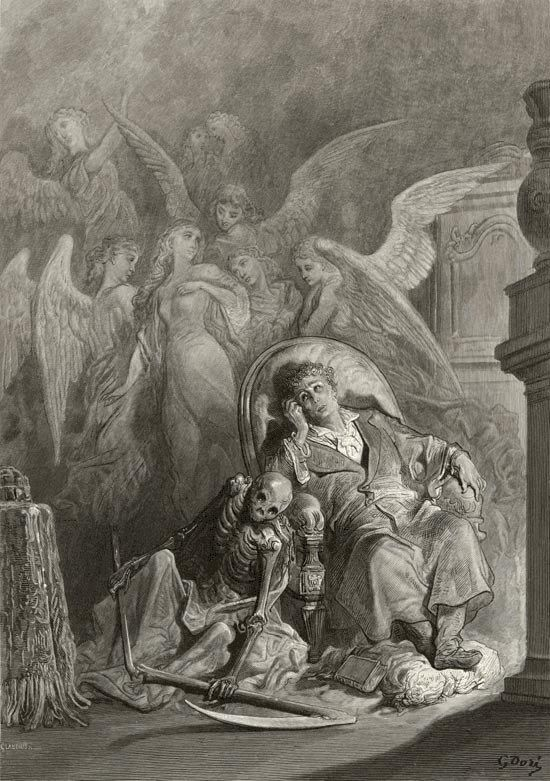 Gustave Dore illustration for Poe's The Raven    (Eagerly I wished the morrow…