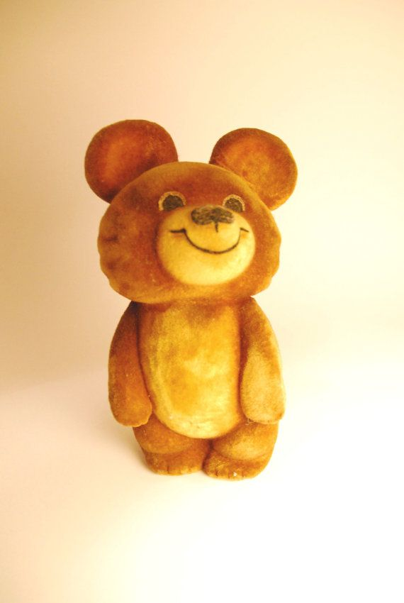 soft olympic retro soft polymer foam mascot toy Misha bear, Soviet vintage, Moscow Olympics 1980 souvenir