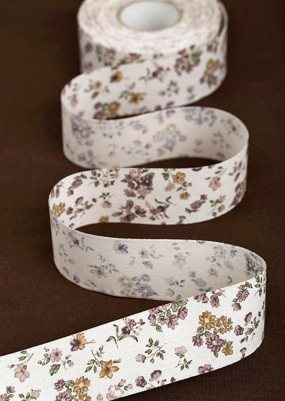 Romantic Floral Oxford Fabric Ribbon / 25mm 40mm / by HOLYCO #ribbon #Fabric