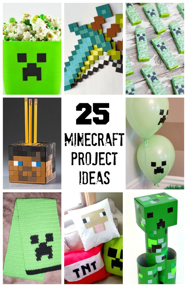 We've gathered 25 minecraft projects to make with kids. You'll love these ideas for a birthday party featuring minecraft!