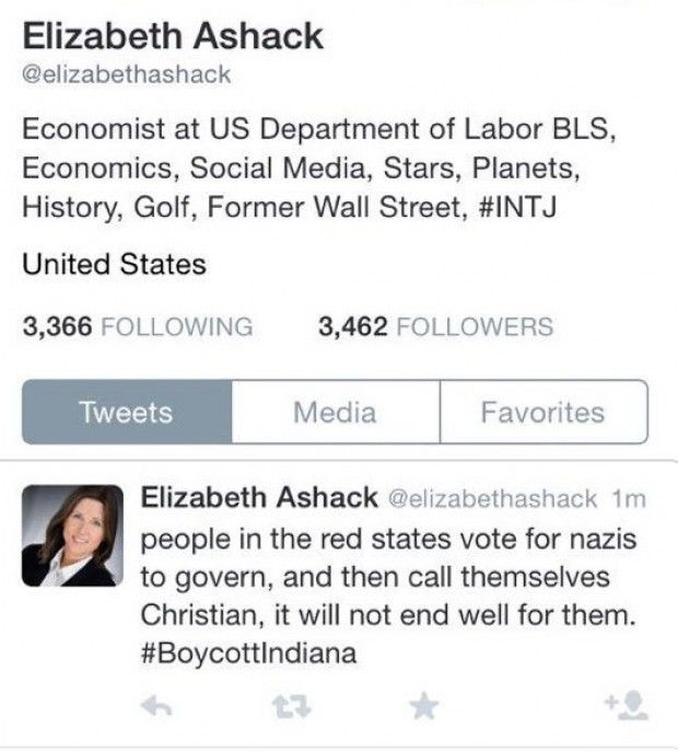 "Federal Government Economist Calls Indiana Christians 'Nazis' - SHE'S A FEDERAL EMPLOYEE --Since 1998, Elizabeth Ashack has worked as an economist for the US Department of Labor. Sunday, using her Twitter account, this government employee wrote ""people in the red states vote for nazis to govern, and then call themselves Christian."" She quickly deleted the Tweet, which was directed at the new religious freed law passed in Indiana."