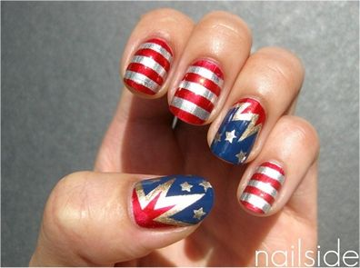 Reminded you about a certain Boileau coming up? Hint hint.....: July Nails, Nails Art, Nailart, Nails Design, Fourth Of July, Captain America, 4Th Of July, Patriots Nails, Nail Art