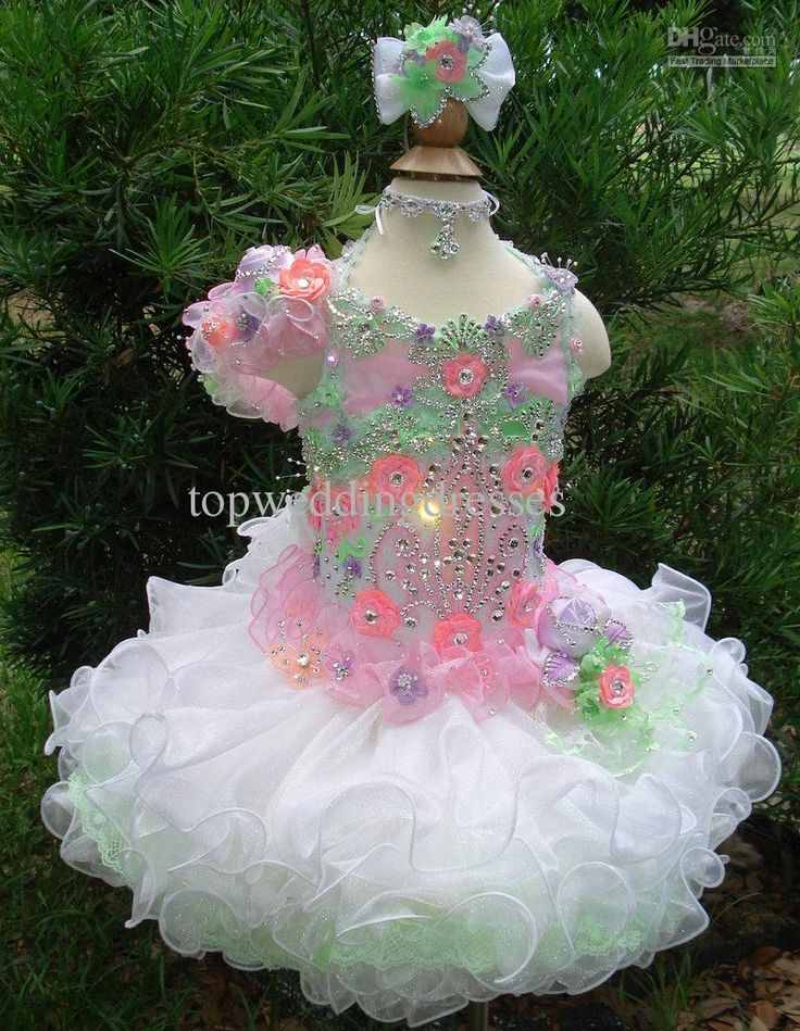 2013 ! Charming Little Girls Cupcake Glitz Pageant Dresses Shining Rhinestone Flowers Organza Pageant Dress Z1291 Gowns For Girls Mermaid Dresses From Topweddingdresses, $146.52| Dhgate.Com