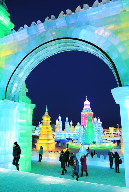The annual Harbin International Ice and Snow Sculpture Festival - Harbin - China - Harbin is located in Northeast China under the direct influence of the cold winter wind from Siberia. Ice sculpture decoration technology ranges from the modern (using lasers) to traditional (with ice lanterns).