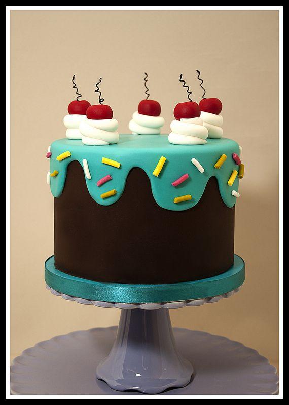 Drippy Icing Birthday Cake