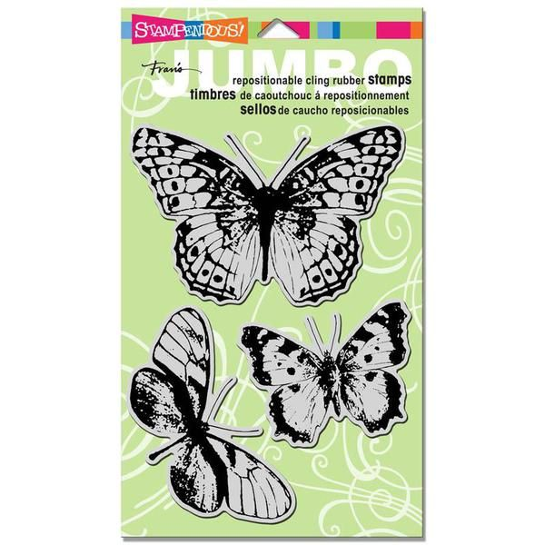 Ellen Hutson, LLC features Stampendous Jumbo Cling Stamps, Butterfly Trio by Fran Seiford.