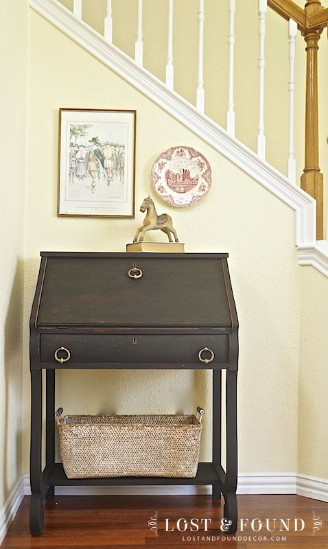 yellow coats A two-tone painted antique secretary desk. Milk Paint Secretary Desk Makeover | http://www.lostandfounddecor.com/makeovers/milk-paint-secretary-des… | Pinteres…