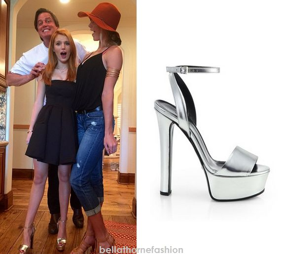 Bella Thorne wears these Gucci Leila Metallic Leather Platform Sandals in an instagram photo posted on November 28th.