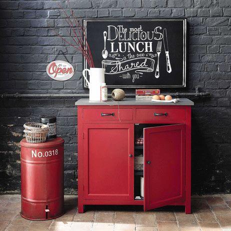 Buffet en bois rouge L 90 cm Cerise | Maisons du Monde