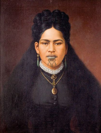 New Zealand | Portrait of a Maori Woman in Colonial Dress. Inscribed Mareana Ngamai, Ngatai Rawiri Tribe, Te Ani AwaTribe, Taranaki. Robson Family descendents. | By Gottrried Lindauner (1839 - 1926). Oil on canvas