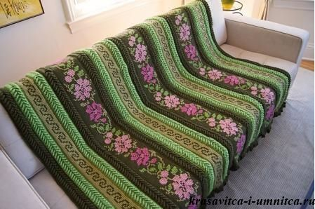 плед тунисское вязание