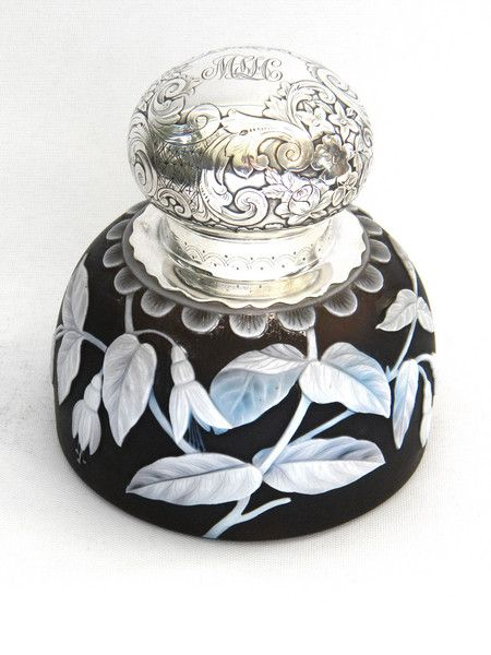 ANTIQUE AMERICAN STERLING SILVER & CAMEO GLASS INKWELL 1882 GORHAM / WEBB…