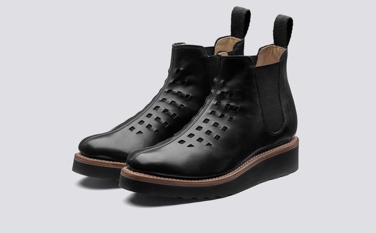 Mandy | Womens Chelsea Boot in Black Calf Leather with a Black Wedge Sole | Grenson Shoes - Three Quarter View