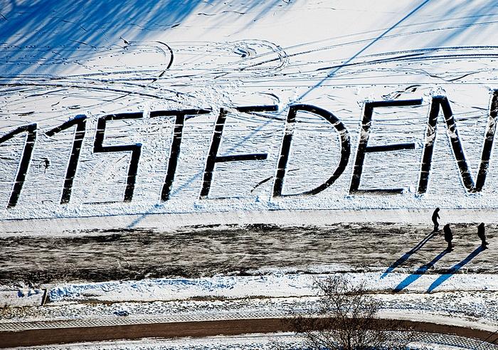Elfstedenroute vanuit de lucht    Bij Bartlehiem staat de tekst 11 steden in de sneeuw geschreven.: Der Tochten, De Tekst, Elfstedenrout Vanuit, 11 Steden, Interess Beelden, Hello Holland, De Tocht, De Lucht, De Sneeuw