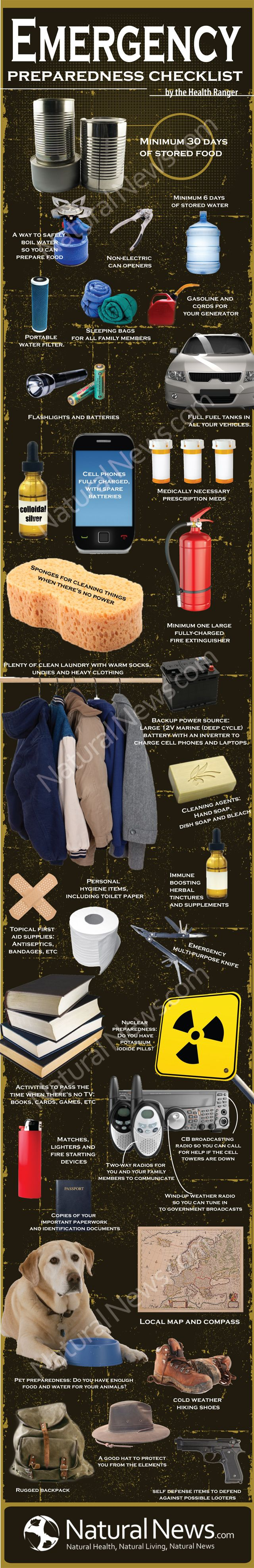 Emergency Preparedness Checklist~ for the survivalist who is not yet prepared to live off the wild.