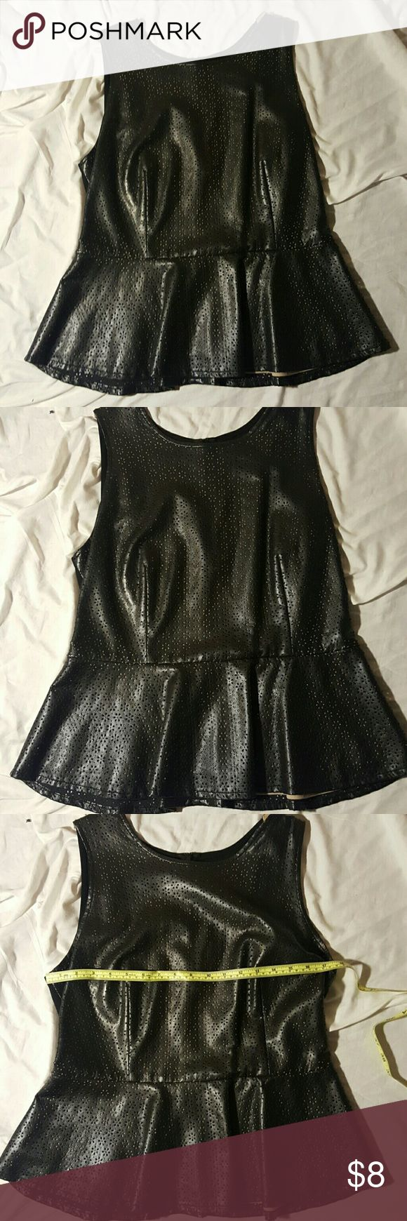 INC faux leather peplum size L Cute faux leather peplum in great condition beautiful detail and cream lining shows theougj bust 20 inches flat and 23 inches long. Tops Blouses
