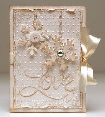(bibbi)s dillerier blogspot.com - must use translatorChristmas Cards, Snowflakes Cards, Beautiful Cards, Cards Ideas, Christmas Colors, Valentine Day Cards, Shabby Chic, Cards Inspiration, Bibby Dilleri