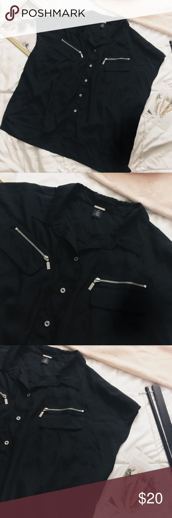 """[CHICOS BLACK LABEL] boxy zipper button down top * black with silver zippers and buttons * Has two small rectangular """"faux"""" pockets with zipper--on front  * Has a more boxy fit to it  * Shoulders have a slight """"batwing"""" style  * A tad sheer  * Has collared neckline  * Part of the black label collection at chicos  * Size 2 * High low hem  * Approximate measurements:  * 23"""" (front)  25"""" (back)  * Bust: 25.5"""" across (armpit to armpit) Chico's Tops Button Down Shirts"""